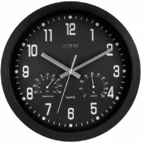 La Crosse 12 Inch Black Battery Wall Clock With Temperature And Humidity Dials Wall Clock With Temperature Clock Wood Clocks