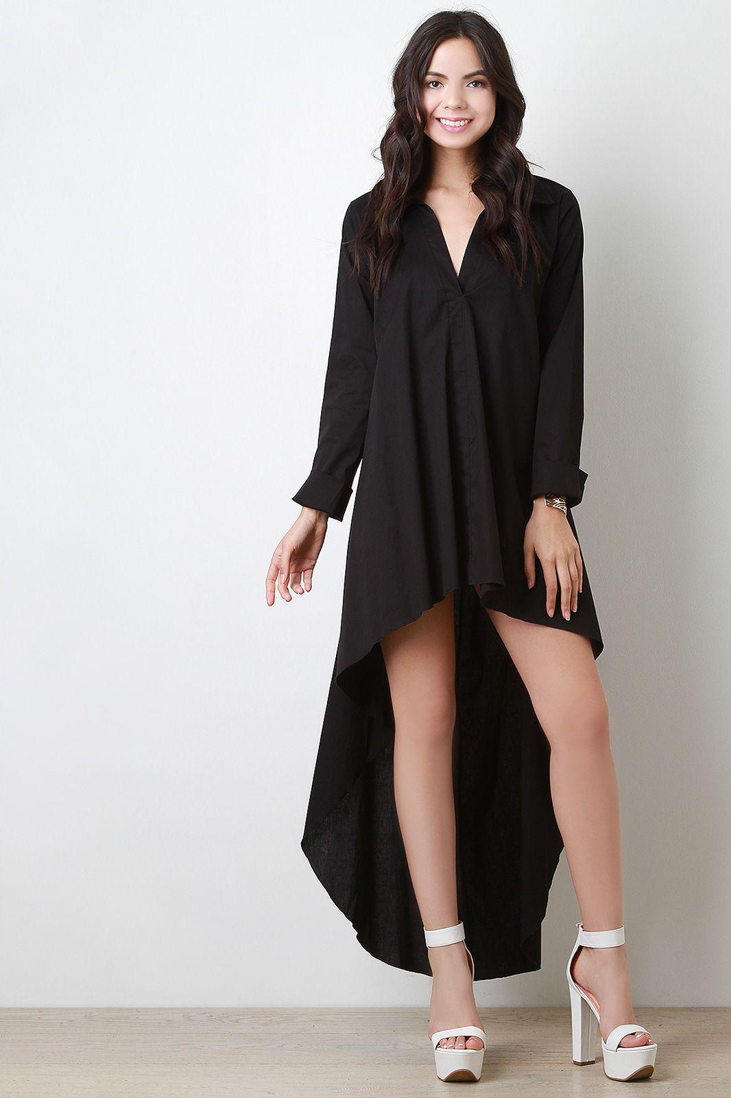 Back Cutout V Neck Long Sleeves High Low Dress Long Sleeve High Low Dress High Low Dress Dresses [ 1600 x 1066 Pixel ]