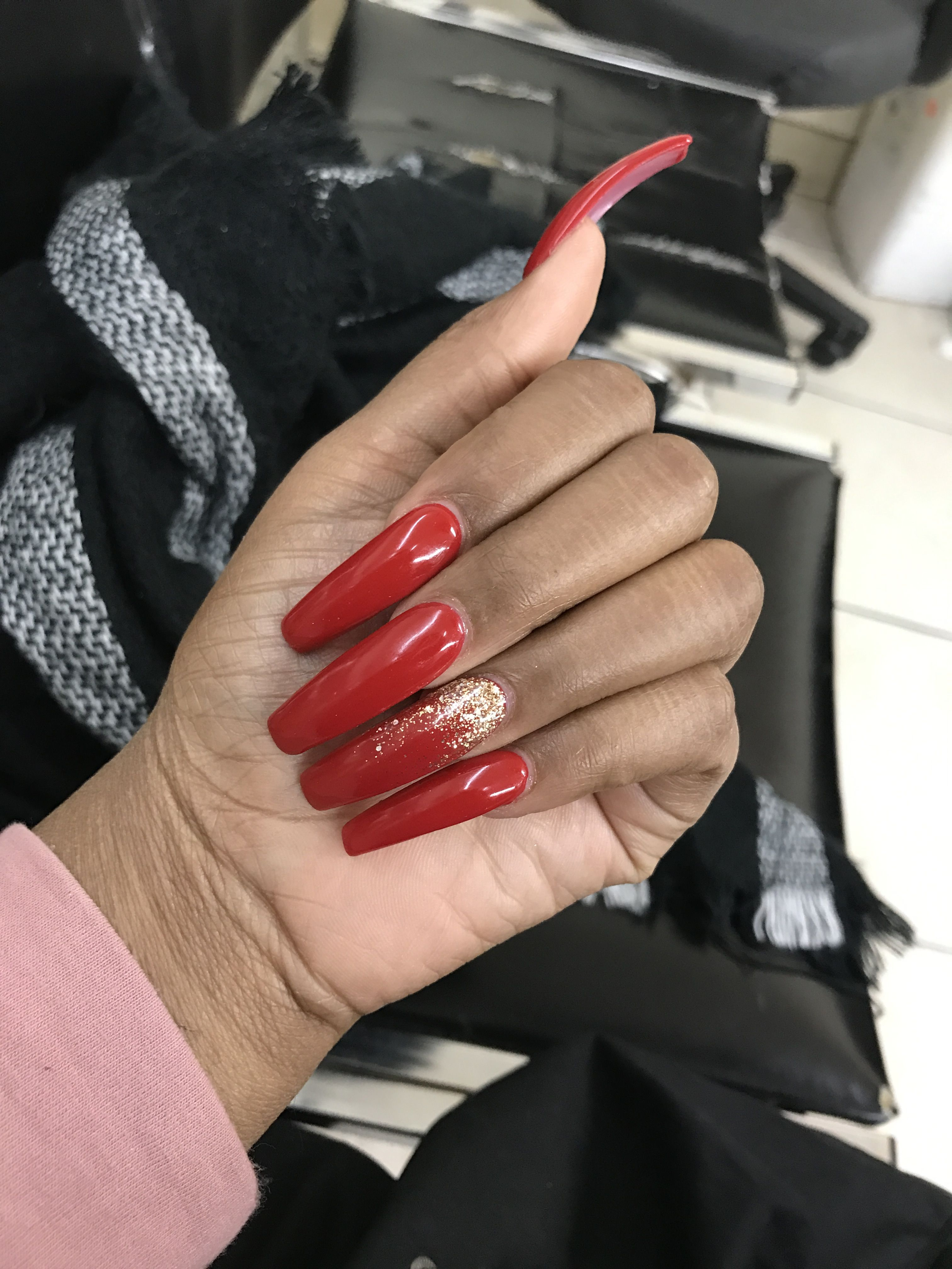 Red Coffin Nails With Glitter Red Acrylic Nails Coffin Nails Coffin Nails Long