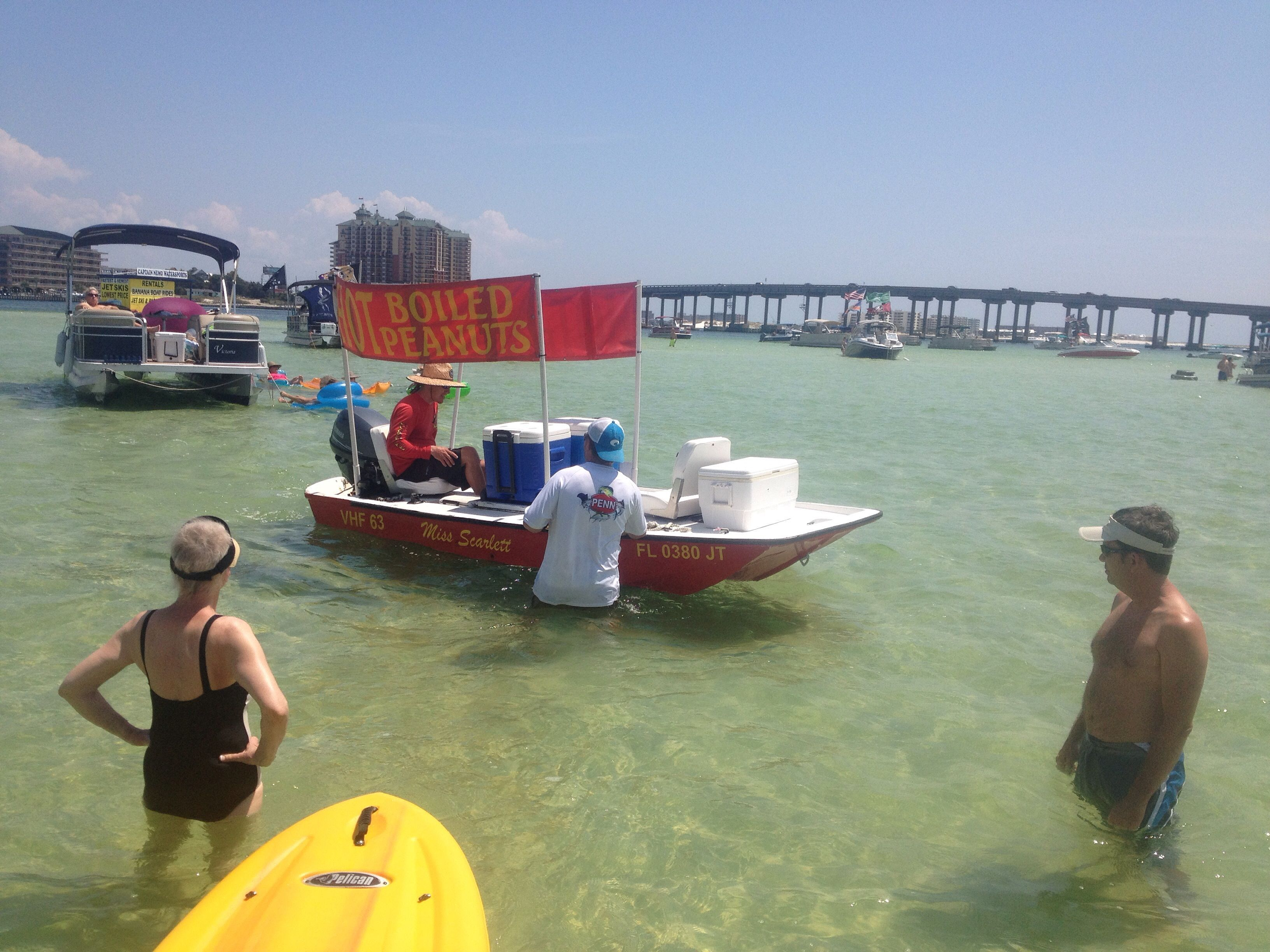 Boiled peanut food vendor comes to you by boat on crab