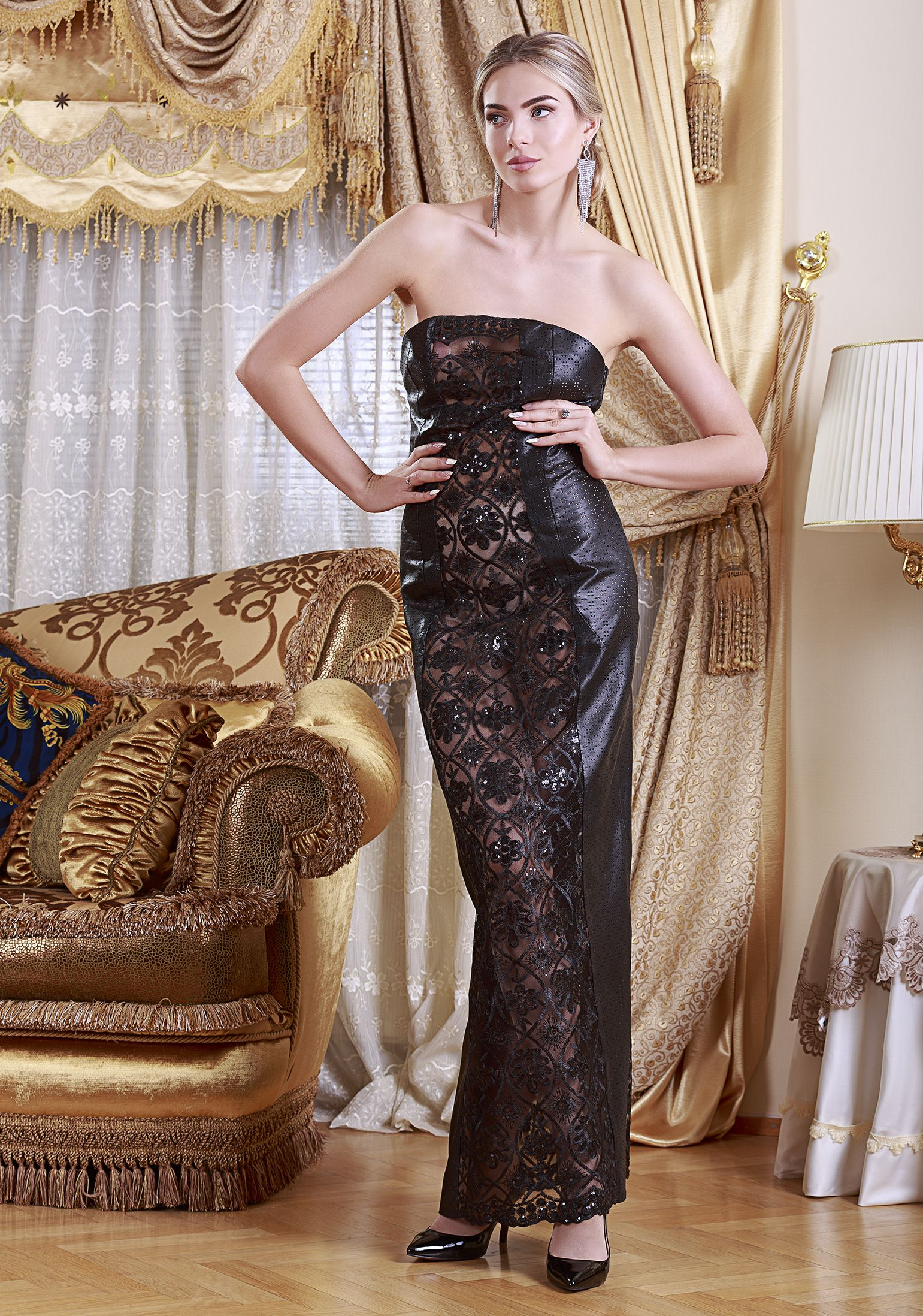 Evening reindeer leather dress by mariela pokka leather fashion