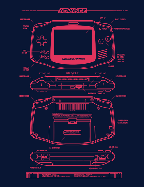 Thenintendard game boy advanced made by adam rufino the blueprint design for the game boy advance malvernweather Image collections