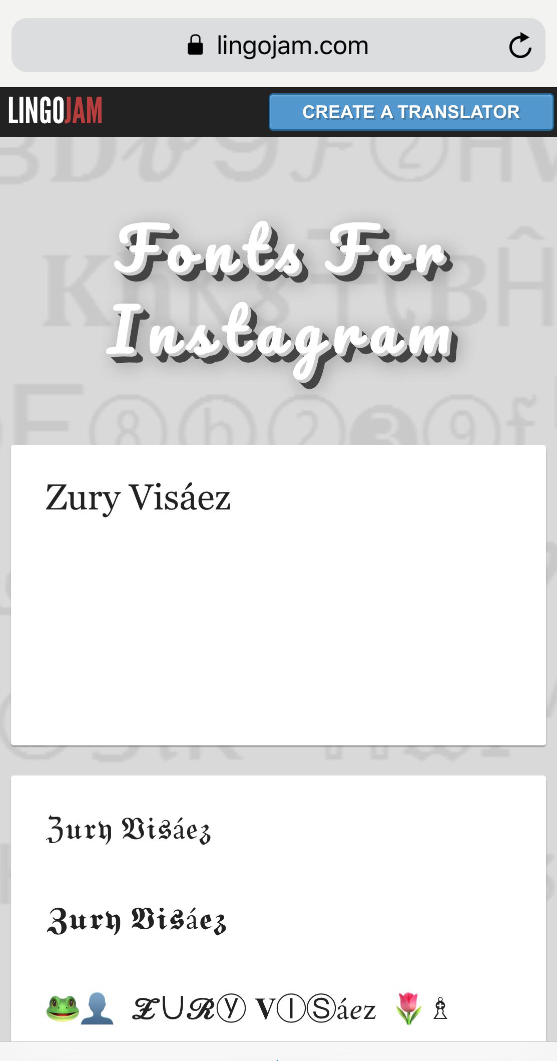 Vista De Lingojam Com Para Cambiar La Letra De Instagram Y Personalizar La Biografía Y Contenidos Conversor De Letras Letra De Cambio Nombre Para Instagram