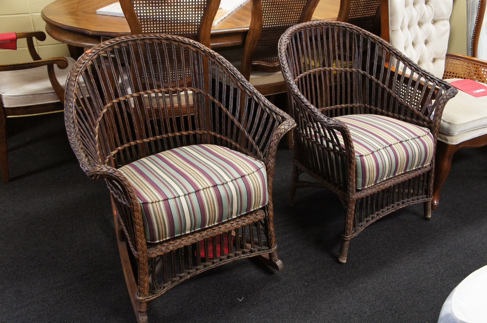Antique Kaltex Wicker Rattan Chairs Rocker Jackson Mi Usa