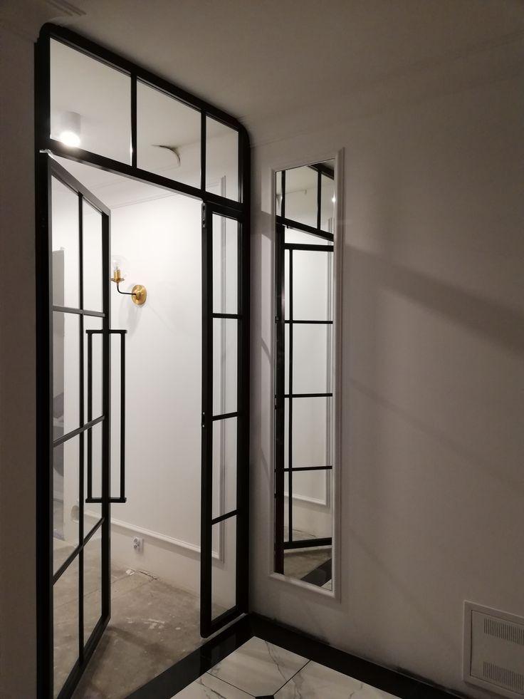Steel glazed door, powder painted.- Steel glass door …