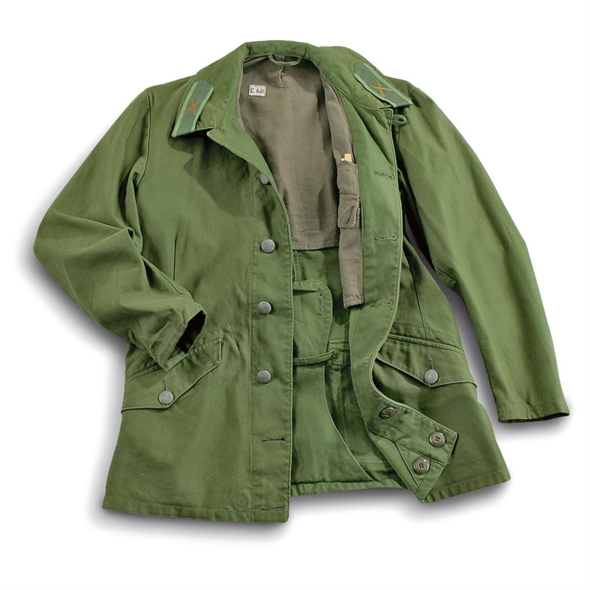 Used Olive Drab Swedish Military M59 Jackets. They re Swedish and green.  Nuff said. 04afc3292b