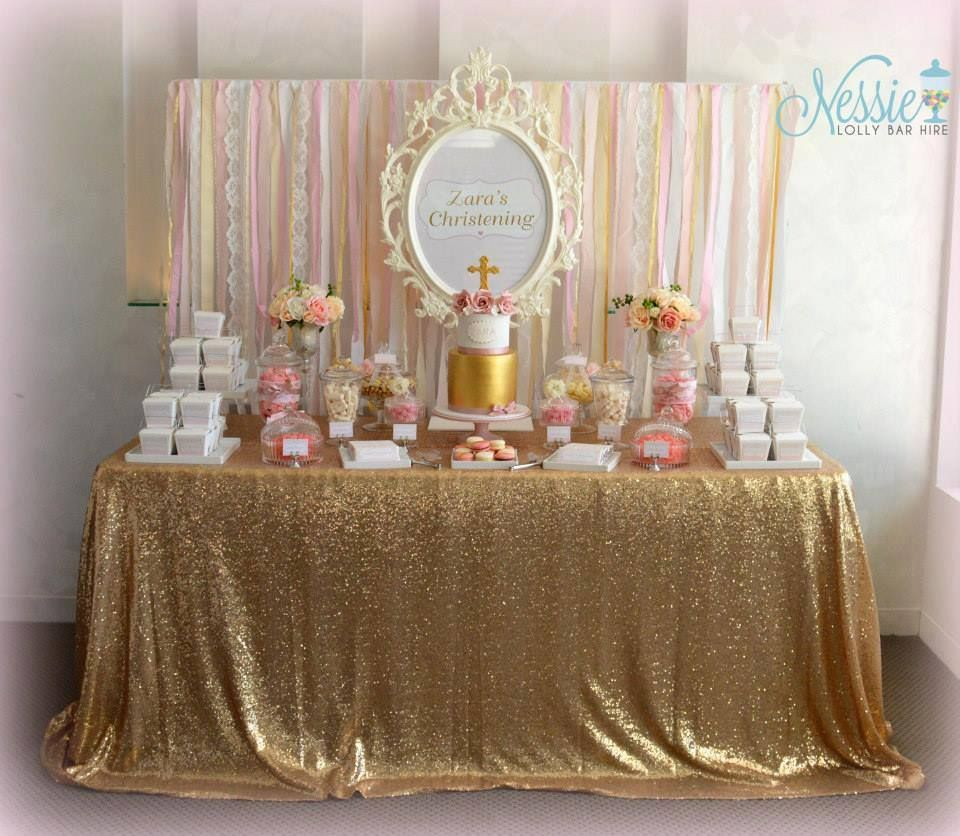 Gold and Dusty Pink Classic Girls Candy Buffet | Baby ...