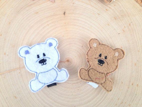 Bear felt hair clip bear felt hair bow baby hair bow baby hair clip hair clips for girls hair bow bear hair clip bear hair bow felt clippie