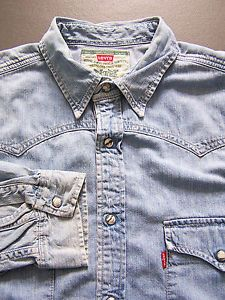 Levi's Western Denim Shirt Men's Large XL Extra Blue Pearl Snaps Vintage LSHz468