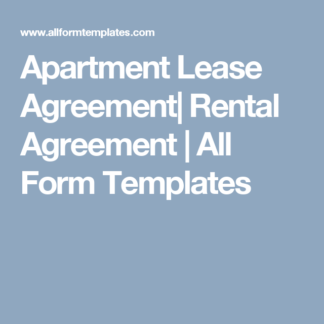 Apartment Lease Agreement Rental Agreement  All Form Templates