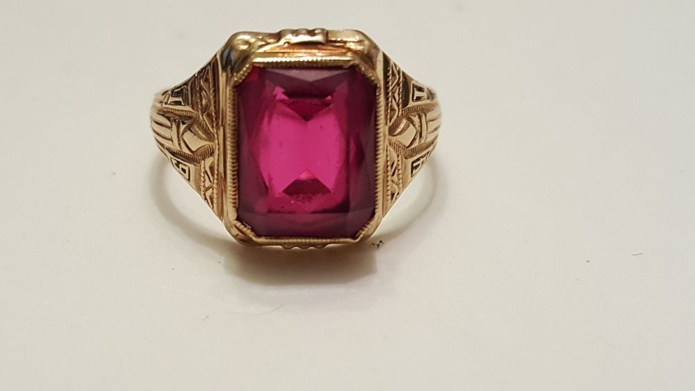 Vintage 10K yellow gold Ruby HJ Ultra Supertone class ring 3 5g