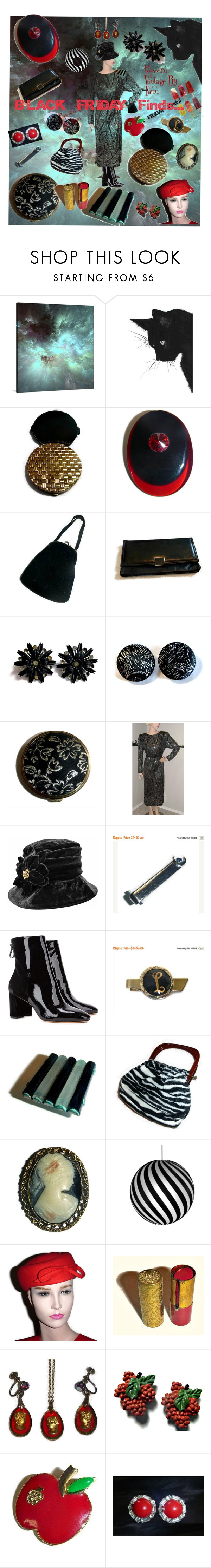 """BLACK FRIDAY Vintage Finds..."" by popcornvintagebytann ❤ liked on Polyvore featuring Alexandre Birman, David Trubridge, CORO and vintage"
