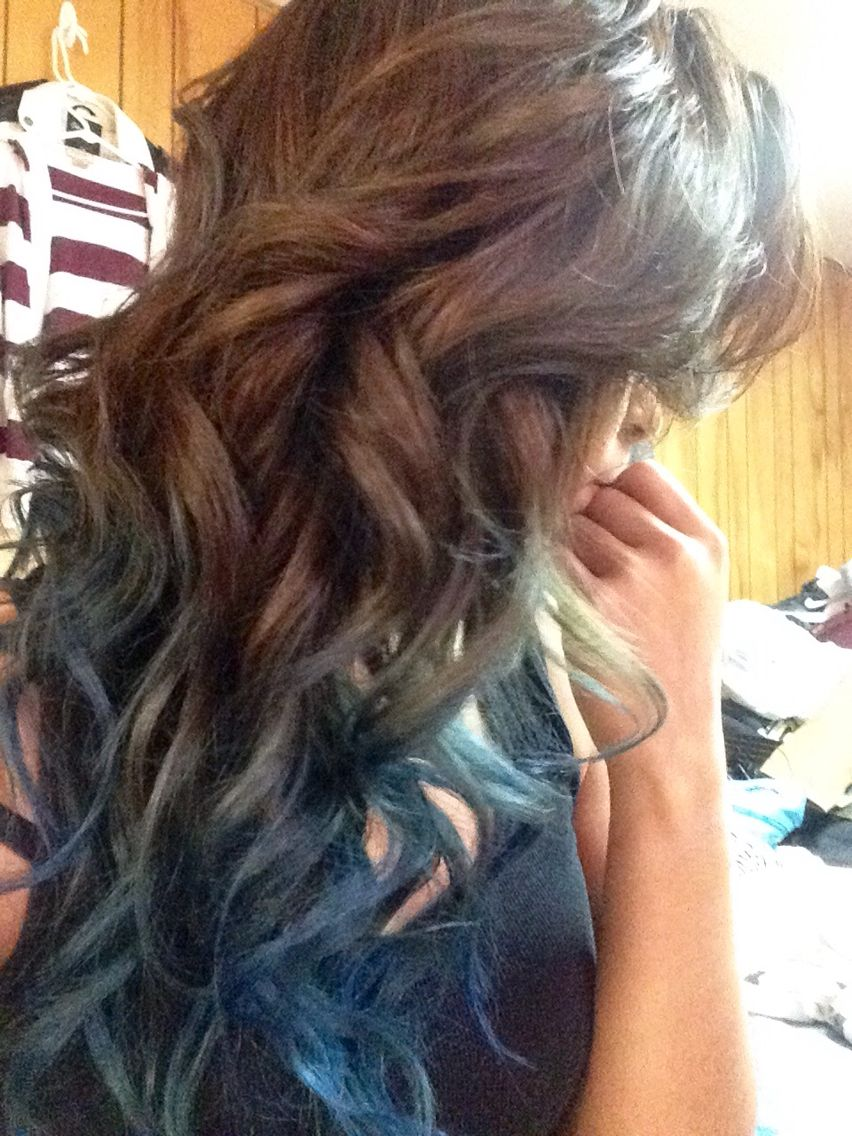 Brown To Blue Ombre Hair My Originals In 2019 Pinterest Blue