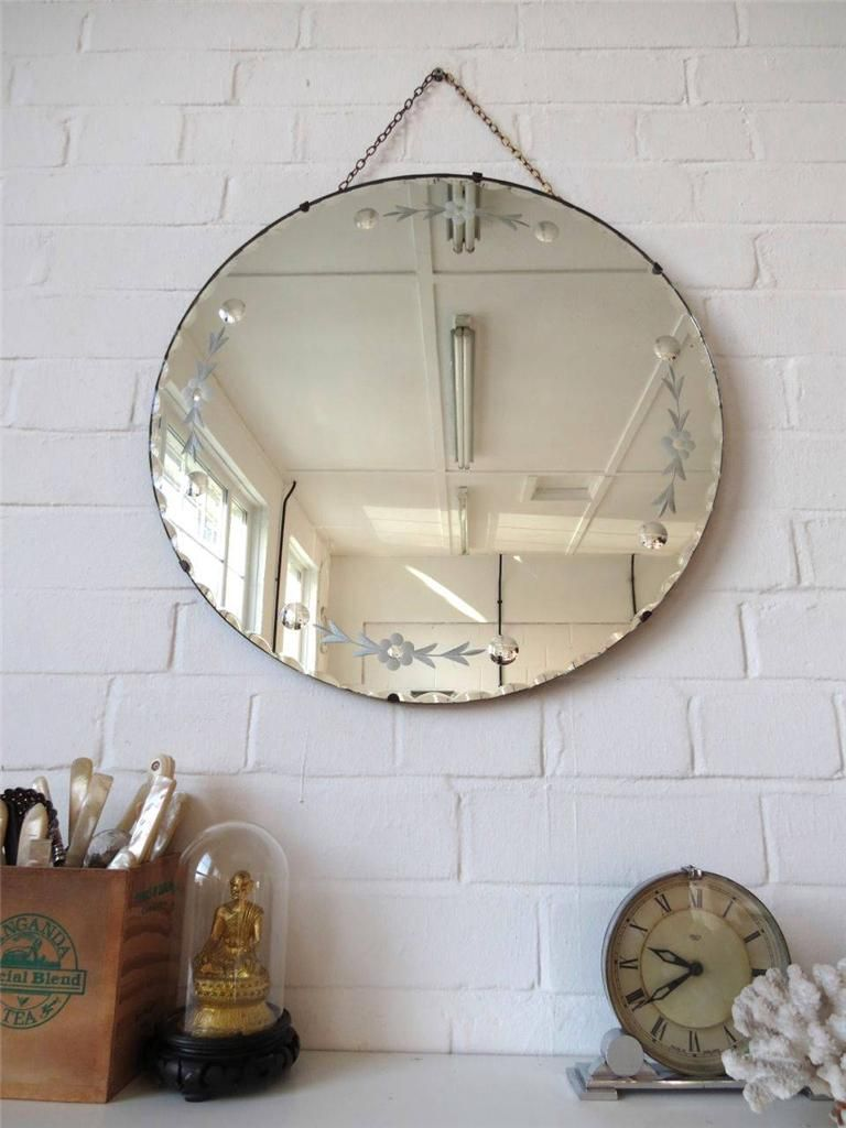 Vintage Large Round Bevelled Edge Art Deco Wall Mirror with Engraved ...