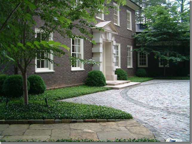 Nice boxwood layout with asiatic jasmine landscape for Georgian landscape design