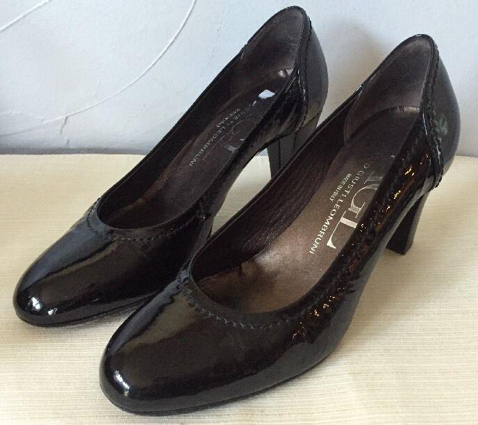 Attilio Giusti Leombruni Black Agl Patent Leather Cap Toe