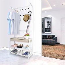 Hall Tree Entryway Coat Stand Shoe Rack Shelves Drawer Hooks Wheels Space Saver