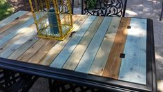Took The Gl Top Out Of A Patio Table And Replaced With Stained Cedar Boards Added Some Metal Hinges Handles