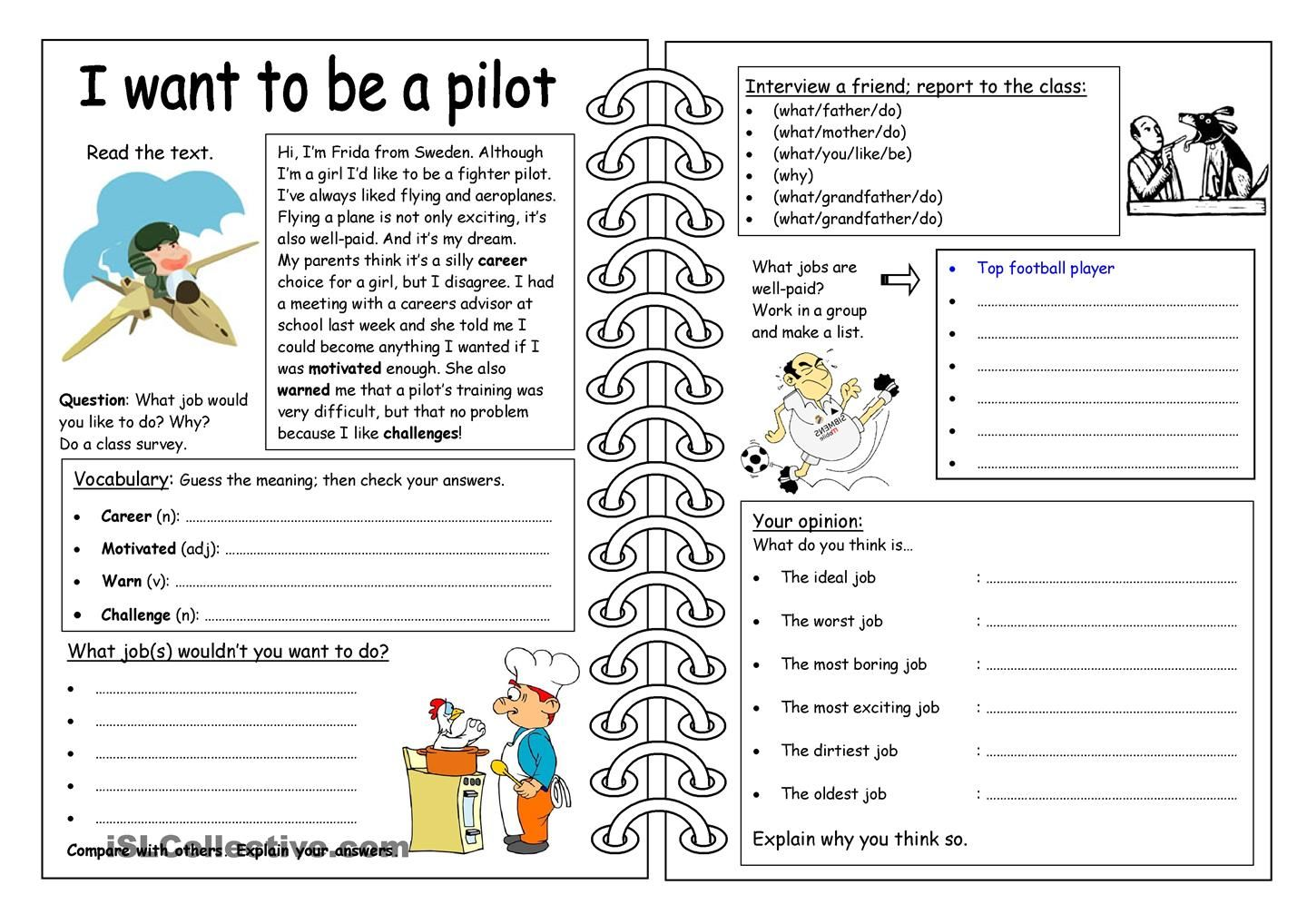 - Four Skills Worksheet - I Want To Be A Pilot (com Imagens