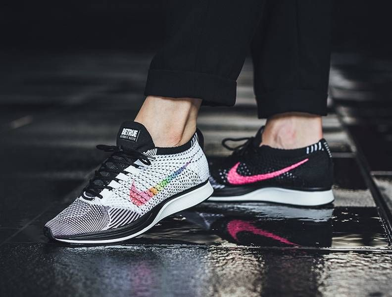 NIKE FLYKNIT RACER BE TRUE WHITE BLACK RAINBOW 902366 100  e6c0e178b0b2