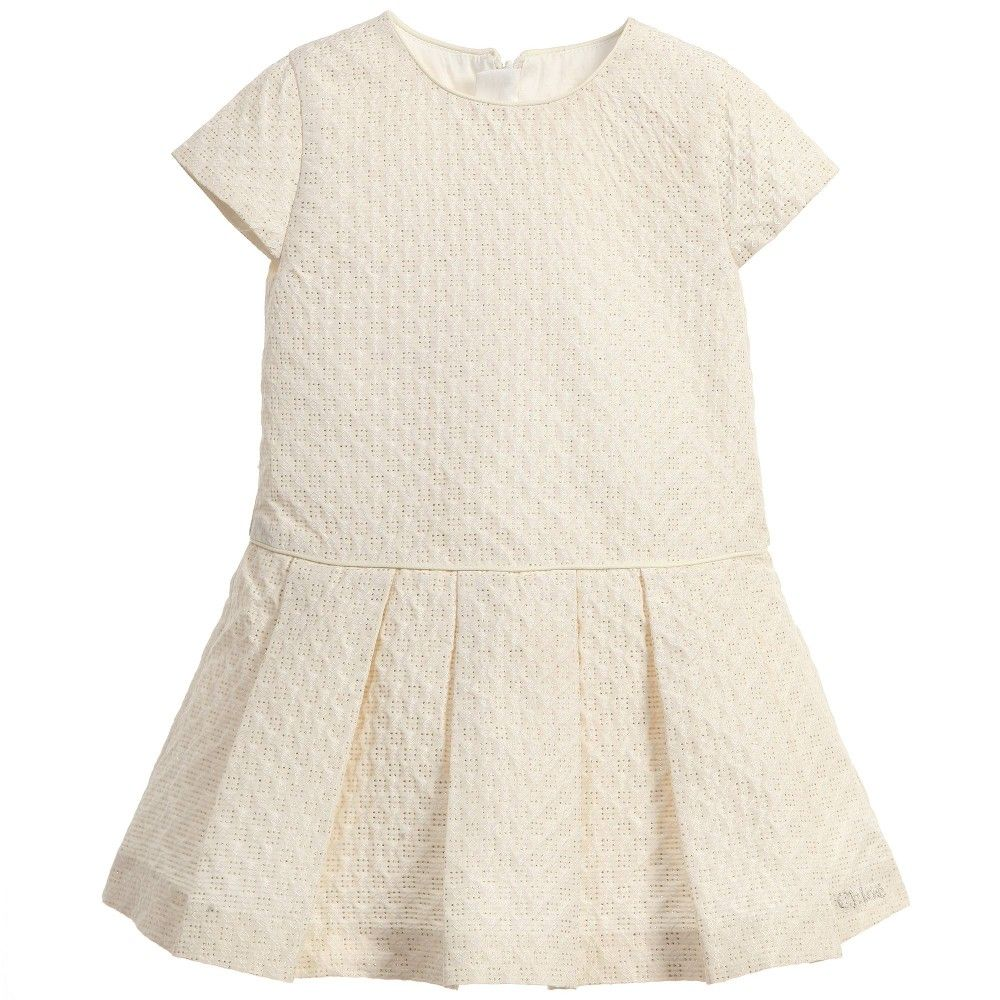 Chloé Baby Girls Ivory Silk & Gold Jaquard Dress at Childrensalon.com