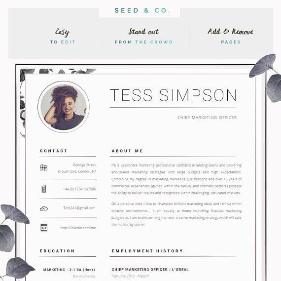Cv Template Creative Resume Template Two Page Professional Etsy Creative Resume Cv Template Creative Resume Templates