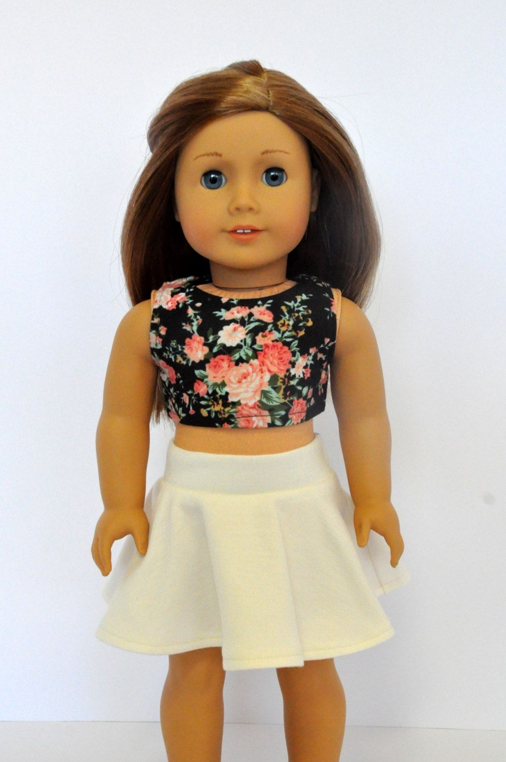 WHITE TIE-FRONT BLOUSE /& PINK FLOWER TRIMMED WHITE SKIRT fit American Girl Dolls