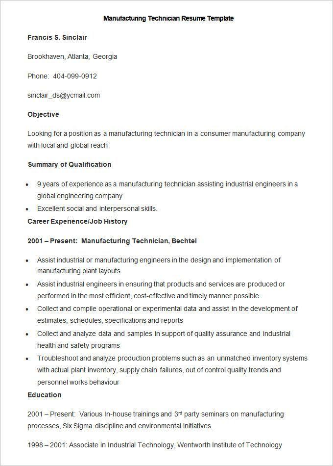 13+ Free Manufacturing Resume Templates Word  PDF Resume