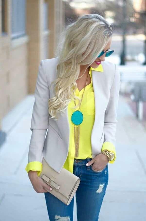 Nude Blazer Clutch Perla Jeans Amarilla Blusa wqYgxpH4