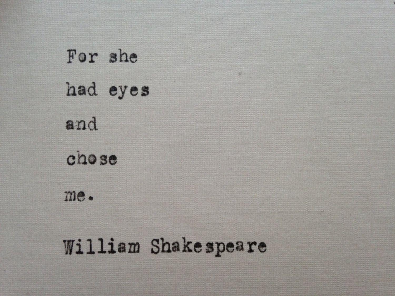 William Shakespeare Love Quote Hand Typed On Antique Typewriter Gift  Girlfriend Boyfriend Husband Wife Wedding Present Birthday Christmas