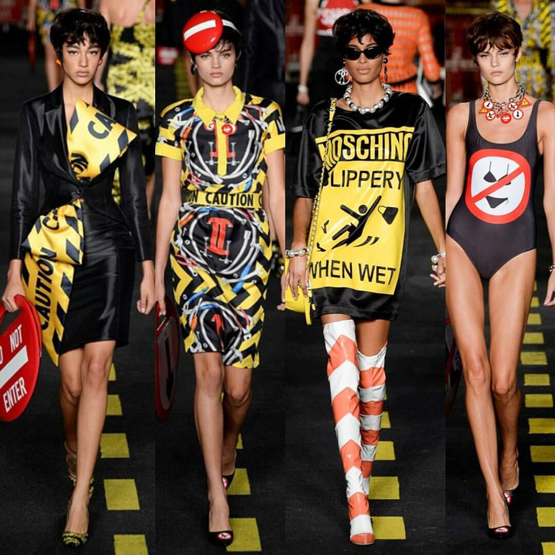 """Haute by Tianna on Instagram: """"MOSCHINO ss16 ⚠✌ #MFW #MilanFashionWeek #ss16 #milan #fashionweek #moschino #rtw #readytowear #collection #look #runway #fashionshow #cool #fashionista #fashiondesigner #trending #stylish #style #trendsetters #chic #styling #vogue #mfw15 #spring16 #instachic #instastyle #instafashion #instadaily"""""""