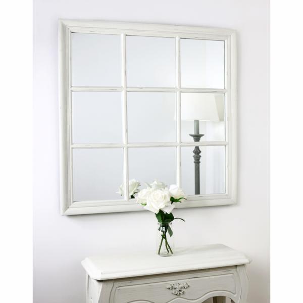 Sasha Vintage White Shabby Chic Square Window Mirror 34 X 34 84cm X 84cm Window Mirror Shabby Chic Mirror New Bathroom Designs