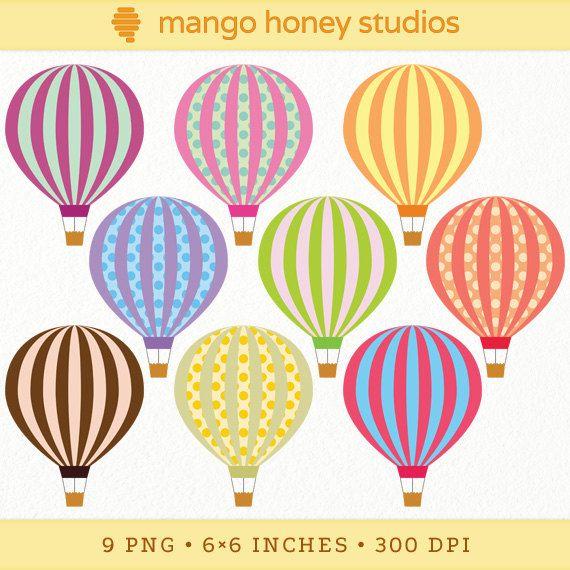 Digital Hot Air Balloon Clip Art, Hot Air Balloon Clipart, Circus ...