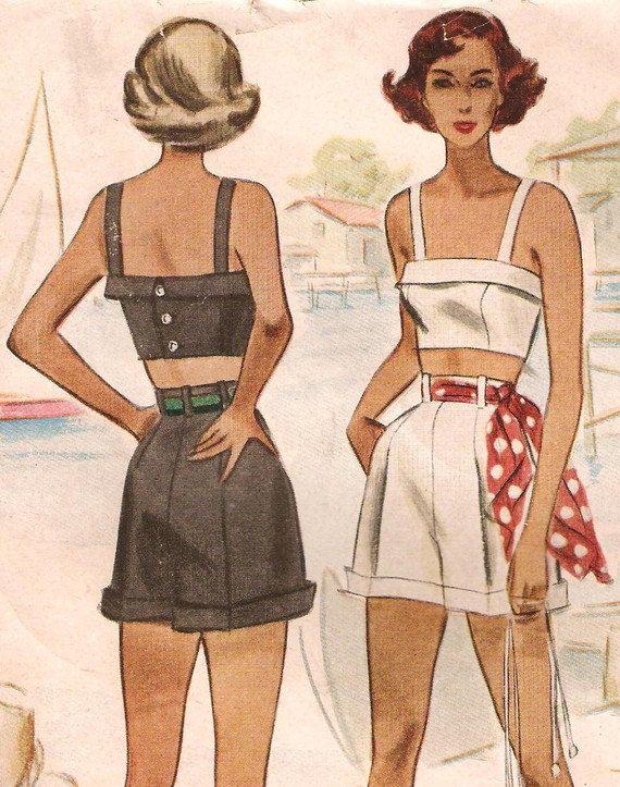 1940s McCalls Cuffed HighWaist Shorts Bustier Crop Top Sewing ...