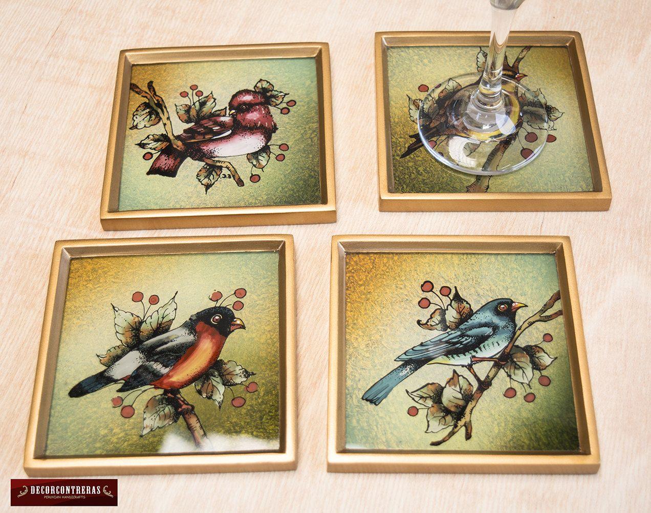 """Posavasos set 4 unid Hecho a mano """"Aves Cantoras"""" - Artesania Peruana - Posavasos de madera y vidrio pintado a mano - Posavasos para el Bar by DECORCONTRERAS on Etsy"""