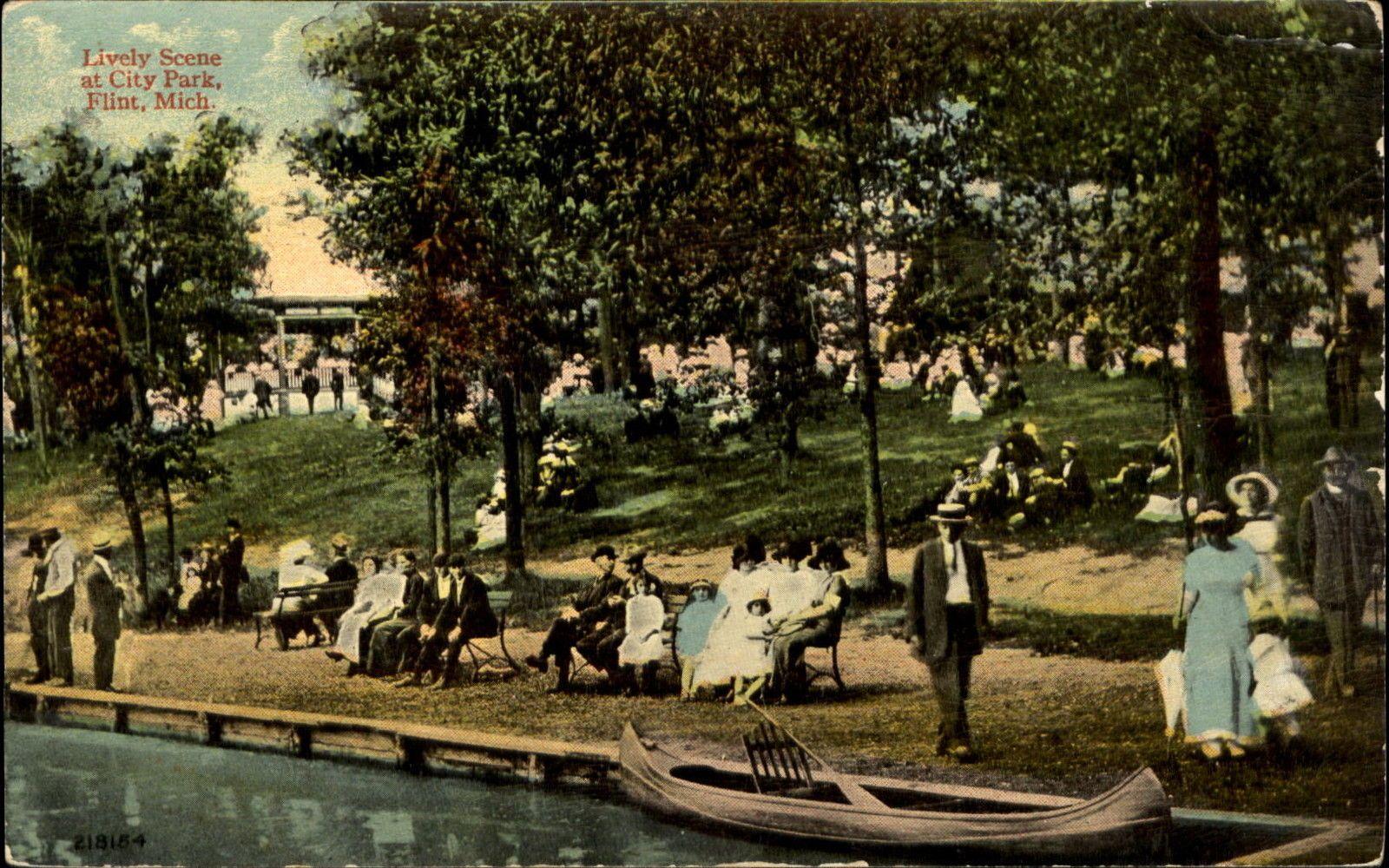 City Park Flint Michigan MI canoe c1910 | eBay | Flint Parks ...