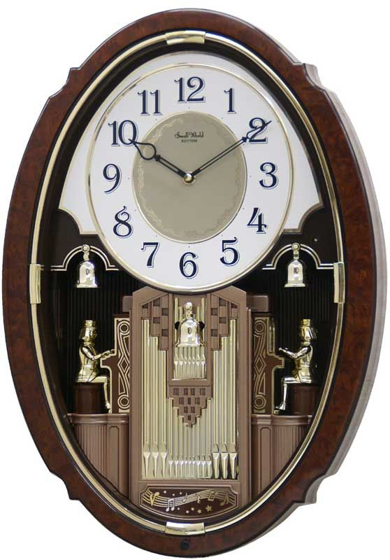 The Organ Symphony From Rhythm Small World Clocks Features Two Organists At The Bottom Who Swing Out And Begin To Play Their Organ Clock Wall Clock World Clock