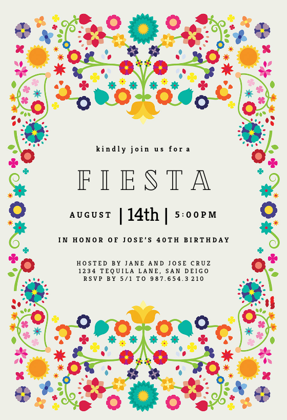 Floral Fiesta Party Invitation Template Free Greetings Island Party Invite Template Free Party Invitations Mexican Party Invitation