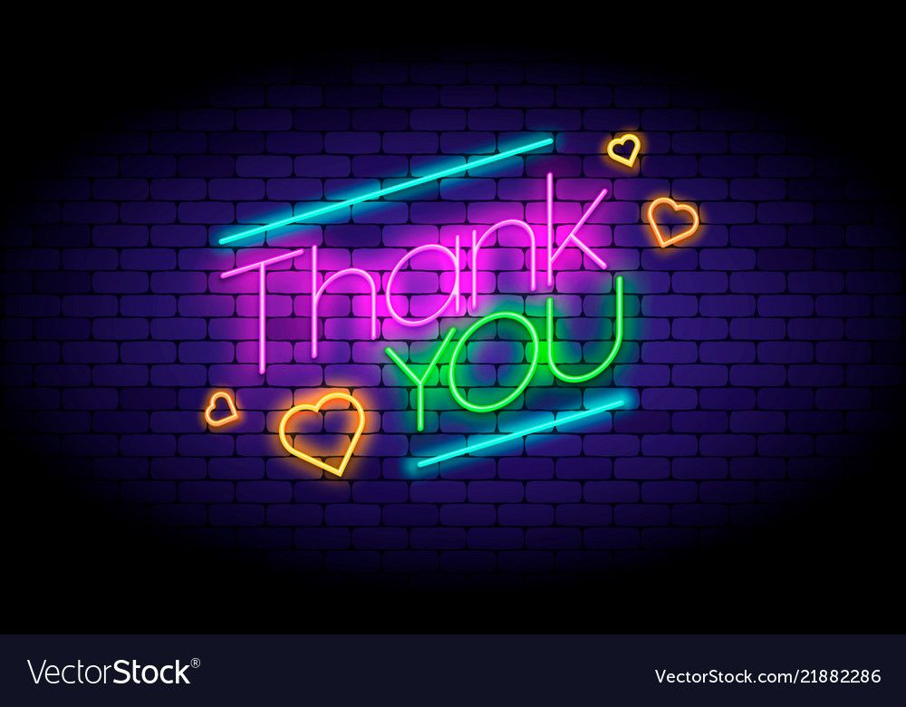Thank you phrase and hearts on the wall in neon vector