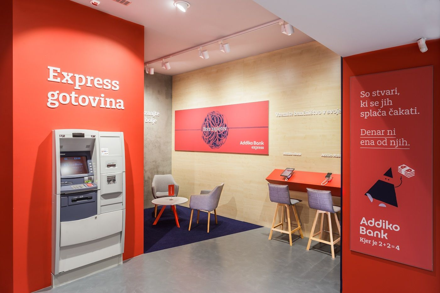 The New Addiko Bank Express Enables Clients To Get Cash Loans Or Open An Account All On Their Own Or With The He Retail Banking Branch Design Showcase Design