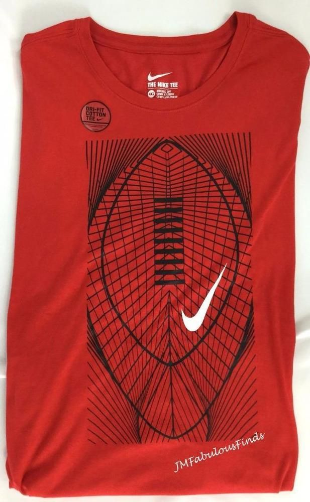 a362d052 Nike Mens Football Graphic Athletic Fit Red Black DriFIT 4XL T-Shirt 809014- 657 #Nike #BasicTee