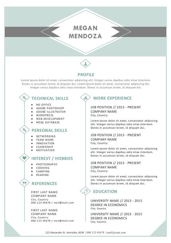 In  Diamond Resume Template Pack For Ms Word By Gtemplates