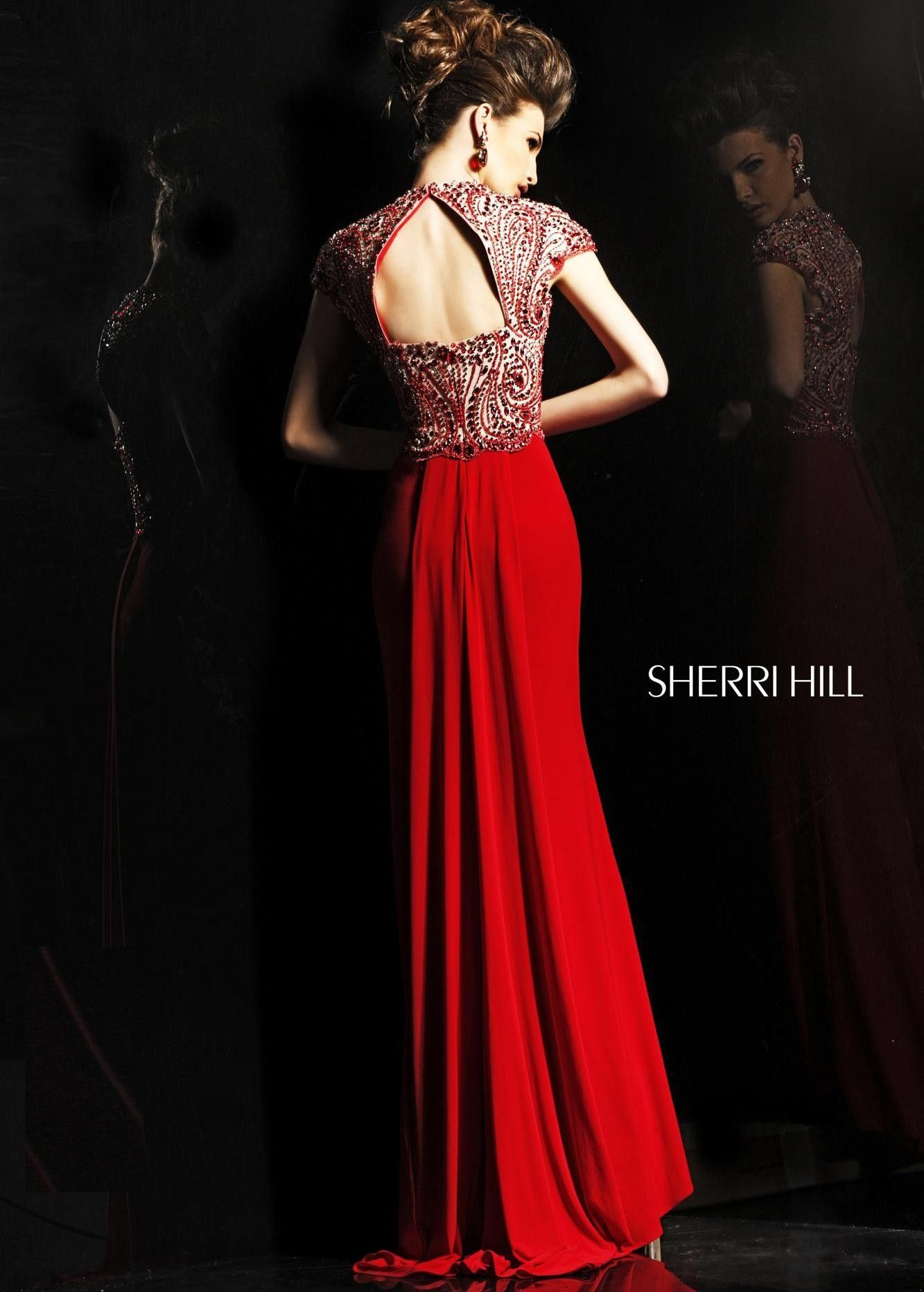 Gorgeous red beaded evening gown pageant prom dress sherri
