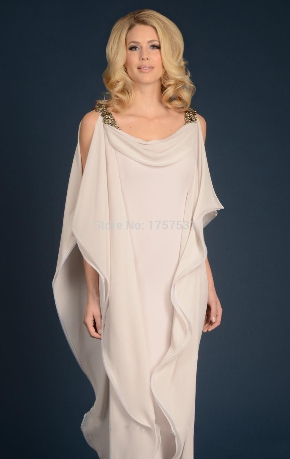 Grecian Dess Chiffon Mothers Dress With Straps Floor Length Long Elegant Women Mother Of The Bride Groom