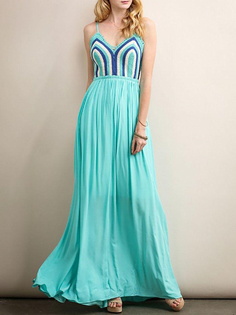 AdoreWe #StyleWe Aquarius Green V Neck Knitted Spaghetti Maxi Dress ...