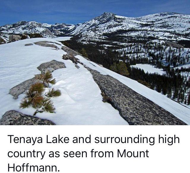 Tenaya Lake to the right below. Frozen over. Yosemite National Park, California