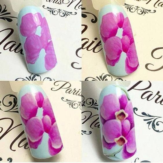 Pin By Kasia Kulak On One Stroke Orchid Nails Flower Nails Floral Nails