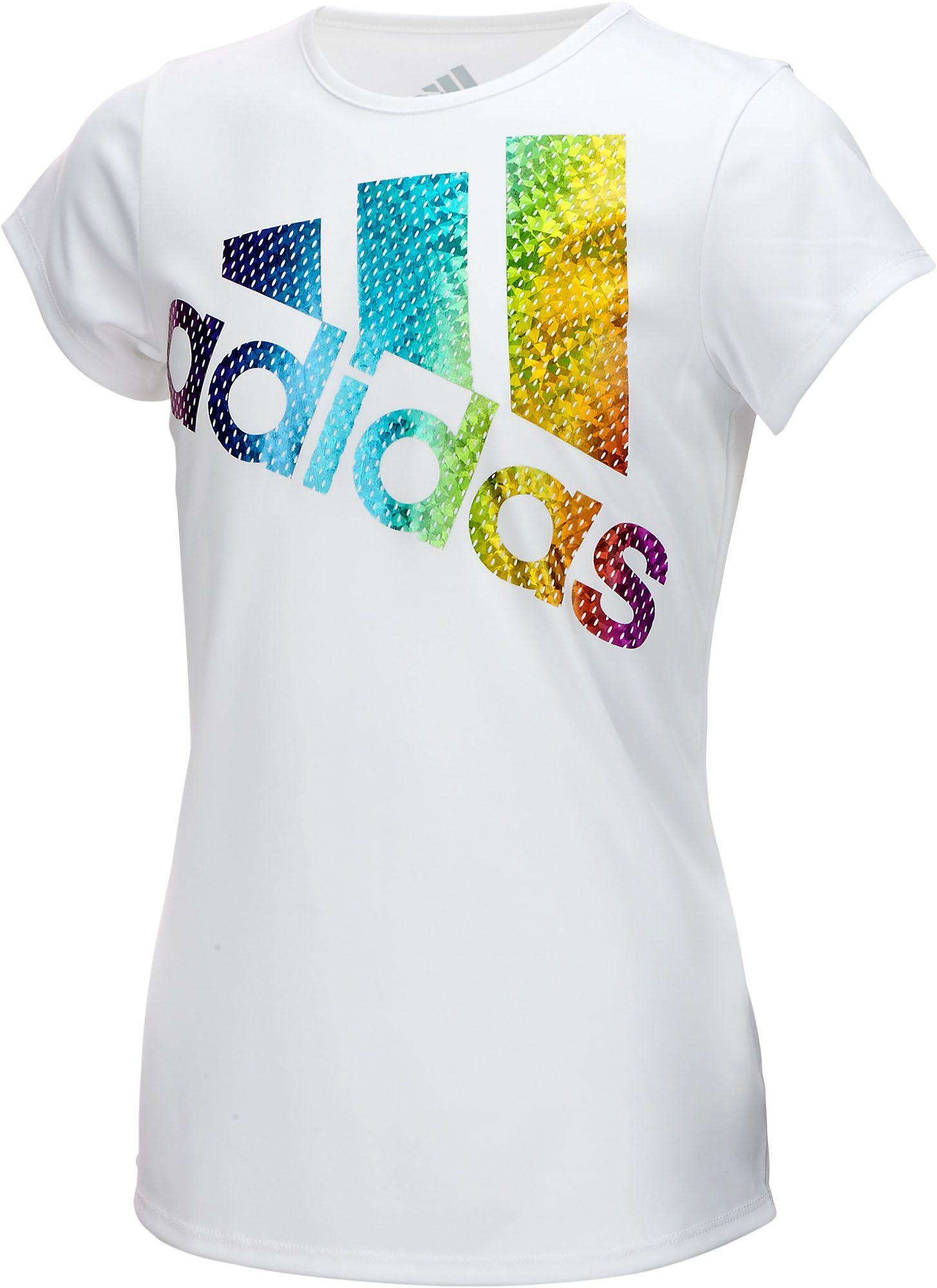 New Adidas Girls/' Short Sleeve Graphic Tee Shirts