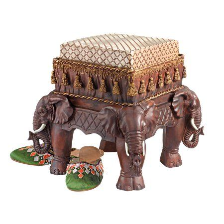 The Maharajah S Elephants Sculptural Upholstered Footstool