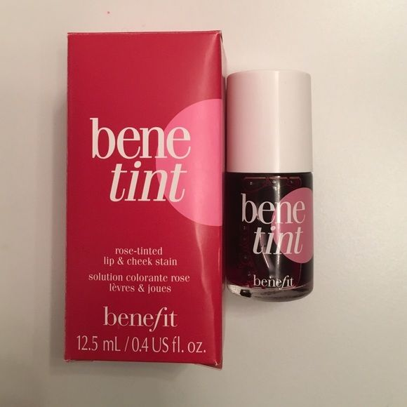 Benefit Benetint Rose Tinted Lip & Cheek Stain Benefit's sexiest flush-in-a-bottle. Benefit rose-tinted lip and cheek stain. New with tags, product unopened. Box is slightly battered on the bottom from being shipped to me. Willing to negotiate on price. Benefit Makeup